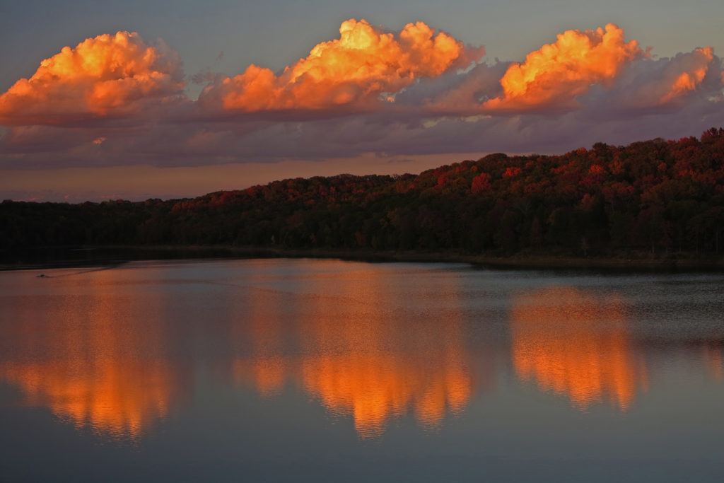 Fall sunset over Lake Alma, Arkansas