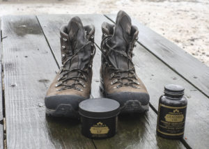 I always go with my heavy duty leather boots during the winter, and I treat them with a good preservative.